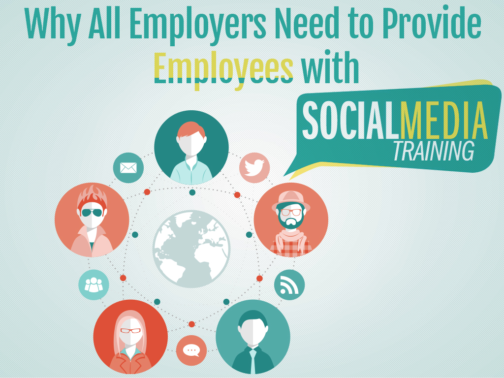 The words Why all employers need to provide employees with social media training over various symbols of social media and communication